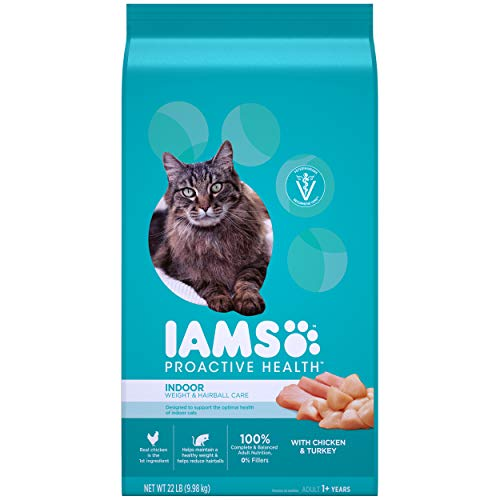 IAMS PROACTIVE HEALTH Adult Indoor Weight Control & Hairball Control Dry Cat Food with Chicken, Turkey, and Garden...
