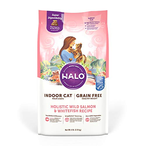 Halo Grain Free Natural Dry Cat Food - Indoor and Healthy Weight Recipe - Premium and Holistic Wild Salmon & Whitefish -...