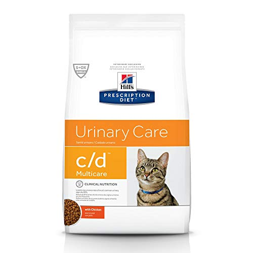 HILL'S PRESCRIPTION DIET Hill's Pet Nutrition C/D Multicare Urinary Care with Chicken Dry Cat Food, 17.6 lb Bag, White...