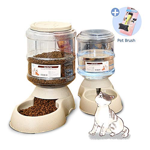 XIAPIA Automatic Cat Food Feeder and Water Dispenser in Set with Slicker Brush Gift for Small Medium Dog Pets Puppy...