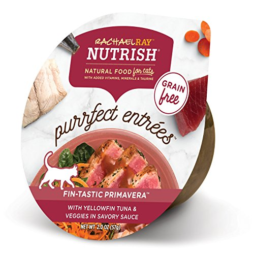 Rachael Ray Nutrish Purrfect Entrees Natural Wet Cat Food, Yellowfin Tuna & Veggies Recipe, 2 Ounce Cup (Pack of 24),...