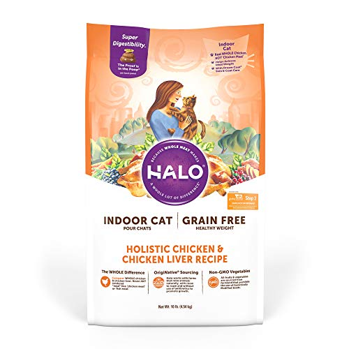 Halo Purely For Pets Grain Free Natural Dry Cat Food, Indoor Healthy Weight Chicken & Chicken Liver Recipe, 6-Pound Bag,...