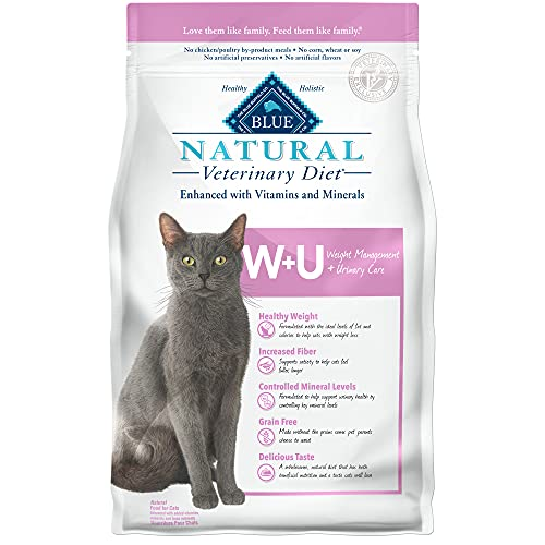 Blue Buffalo Natural Veterinary Diet W+U Weight Management + Urinary Care Dry Cat Food, Chicken 6.5-lb bag