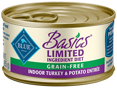Blue Buffalo Basics Limited Ingredient Diet, Grain Free Natural Adult Pate Wet Cat Food, Indoor Turkey 3-oz (Pack of 24)