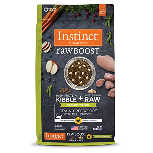 Instinct Raw Boost Healthy Weight Grain Free Recipe with Real Chicken Natural Dry Cat Food by Nature's Variety, 10 lb....