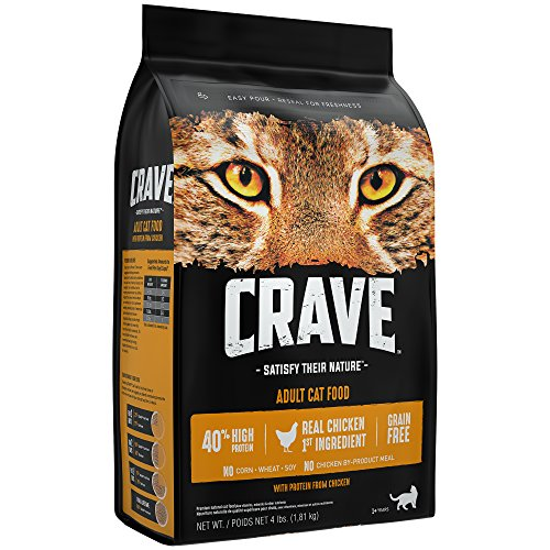 Crave Grain Free Dry Cat Food with Protein From Chicken Bag, 4 lb