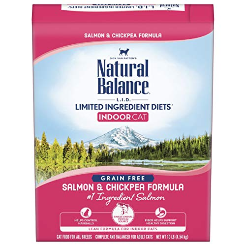 Natural Balance L.I.D. Limited Ingredient Diets Dry Cat Food for Indoor Cats, Salmon & Chickpea Formula, 10 Pounds,...