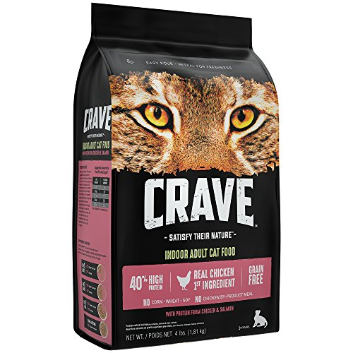 Crave Indoor Grain Free Dry Cat Food with Protein From ChickenandSalmon Bag, 4 lb