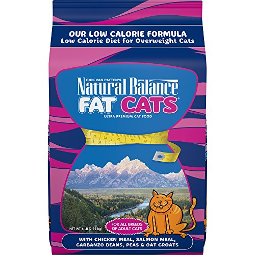 Natural Balance Fat Cats Low Calorie Dry Cat Food, Chicken Meal, Salmon Meal, Garbanzo Beans, Peas & Oat Groats, 6...