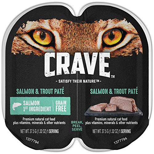 Crave Grain Free High Protein Salmon and Trout Paté Wet Cat Food Trays (24 Twin Packs,  2.6 oz each)