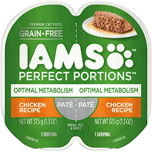 IAMS PERFECT PORTIONS Adult Grain Free Optimal Metabolism Healthy Weight Wet Cat Food Paté Chicken Recipe, (24) 2.6 oz....